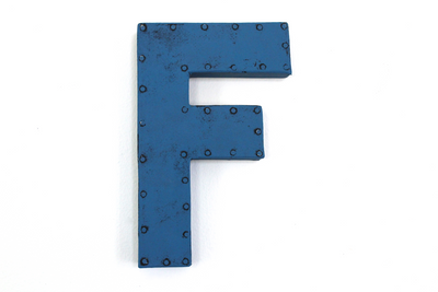 "Letter F in a blue ""metal"" color."
