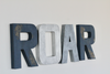 Roar sign in navy, silver, and grey colors for animal themed nurseries and rustic playrooms.