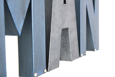 Industrial blue and grey letters for little boys room decor.