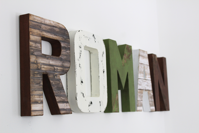 Safari themed nursery custom wall letters spelling out the name Roman in different colors and textures.