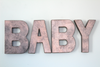 "Free Standing Baby Shower Letters in Rose Gold Pink ""Metal"""