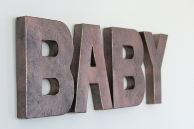 "Pink ""Metal"" BABY Letters for Baby Shower"