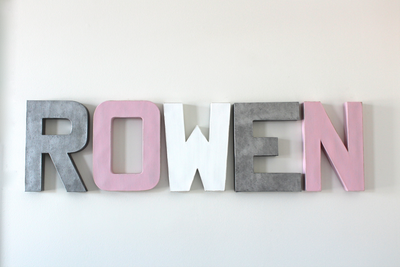 Girl name letters for ROWEN in silver, pink, and white.