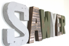 "Rustic ""wooden"" nursery wall letters in brown, green, and gray."