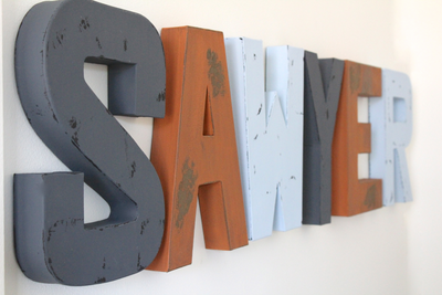 SAWYER name letters for nursery and little kid room decor.