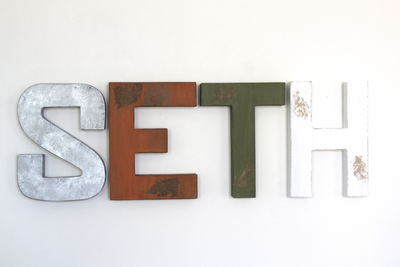 Seth room name letters done in an industrial rustic styles for a boys adventure themed nursery.