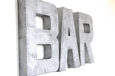 "Silver ""metal"" bar wall letters."