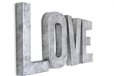 "Silver ""metal"" love wall signs."