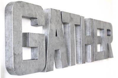 Silver Gather wall sign for industrial farmhouse wall decor.