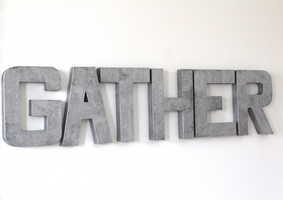 Rustic farmhouse gather sign in silver.