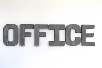 "Silver ""metal"" home office wall decor sign."