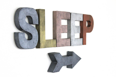 """Metal"" sleep sign in different colors with arrow."