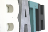 Bath letter sign for bathroom wall decor in white, silver, blue, and gray.