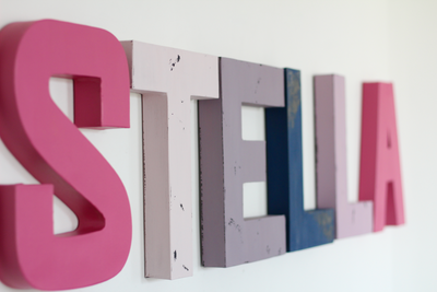 Stella name letters for girls room decor.