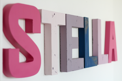 Name letters for girls room decor spelling out Stella.