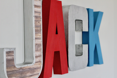 Superman themed wall letters for little boys room decor.