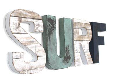 Surf decorative letters spelling out the word Surf.