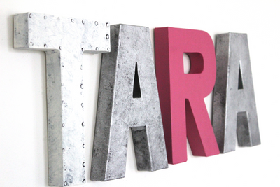 Girl name letters for nursery wall decor spelling out the name TARA.