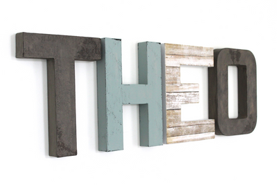 """Wooden"" Boys Name Letters spelling out THEO in blue and gray."