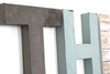 Rustic letters in blue and grey.