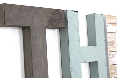 Boys name classic wall letters in gray and blue.