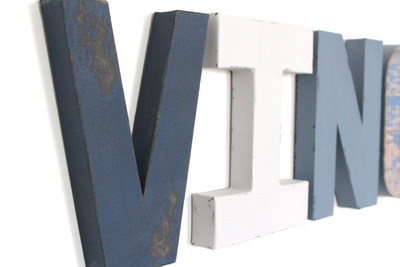 Distressed blue and grey wall letters for little boys room decor.