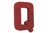"""Metal"" industrial letter Q in red."