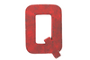 "Retro industrial red ""metal"" letter Q."