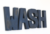 WASH bath room sign letters in a navy distressed finish