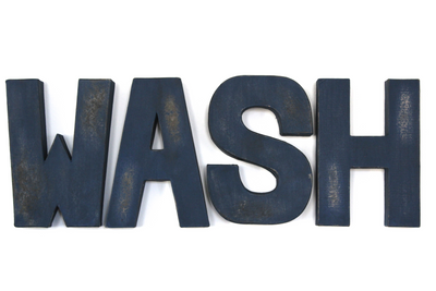 "WASH navy ""wooden"" distressed wall letters"