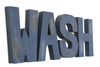 "WASH navy blue ""wooden"" letters"