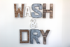 "Wash and Dry ""Wooden"" and ""Metal"" Wall Letters"