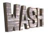 Farmhouse style WASH wall letters for bathroom wall decor.