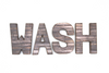 Wash wall letters for bathroom wall decor.