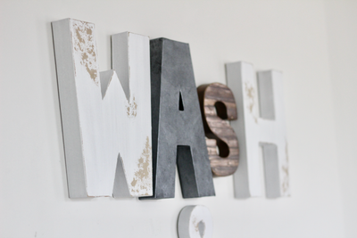 Wash sign for farmhouse wall letters.