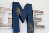 Navy distressed wall letters for entryway wall decor.