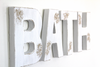 Rustic and distressed white bathroom wall sign.