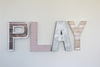 Girls playroom sign in pink, silver, white/beige, and brown.