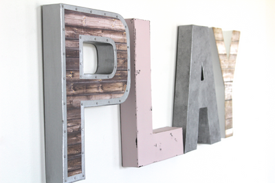 Girls playroom sign in pink, silver, and brown.