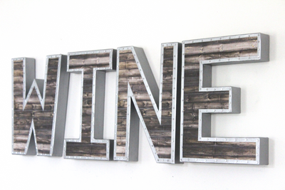 Reclaimed Wood and Metal Wine Wall Letters for Wine Bar.