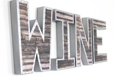 Industrial Wine Wall Letters.