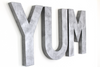 "Large ""metal"" silver YUM wall letters."