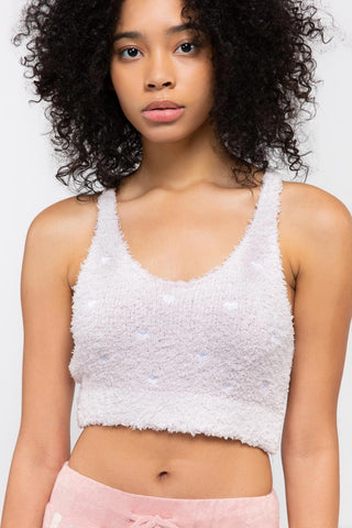 Fuzzy Embroidered Heart Crop
