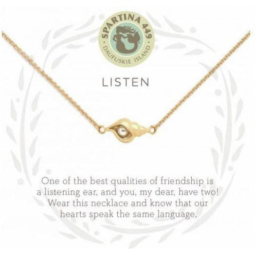 Listen/Shell Gold Necklace
