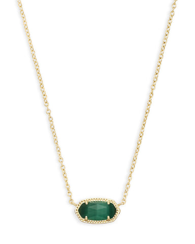 Elisa Gold Pendant Necklace In Emerald Cat's Eye