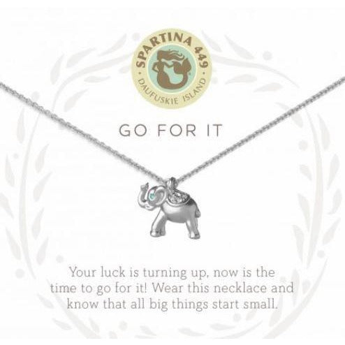 Go For It/Elephant Silver Necklace