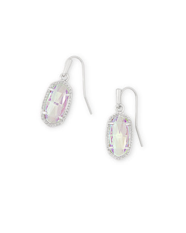 Lee Silver Drop Earrings In Dichroic Glass