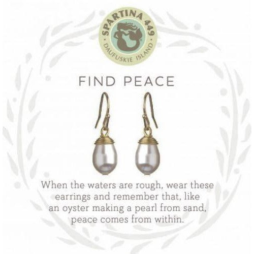 Find Peace Gold Pearl Earrings