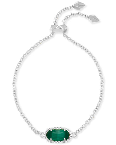 Elaina Adjustable Chain Bracelet in Rhodium Emerald Cats Eye