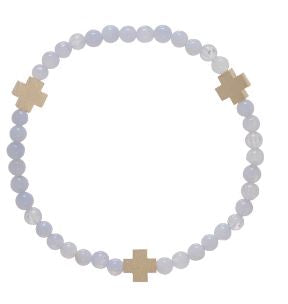 Signature Cross Bracelet- Matte Gold- Blue Lace Agate